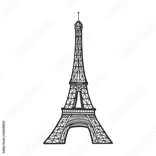 Eiffel tower sketch engraving vector illustration. Scratch board style imitation. Black and white hand drawn image. Wall mural
