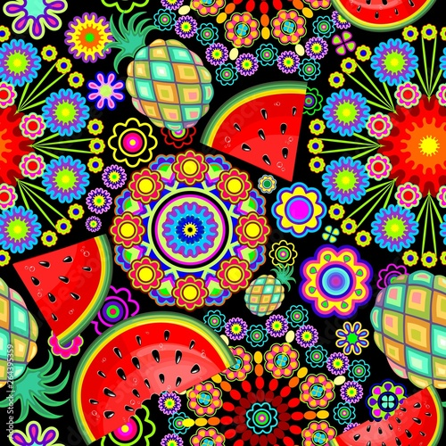 In de dag Draw Mandalas Flowers and Exotic Fruits Vector Seamless Pattern