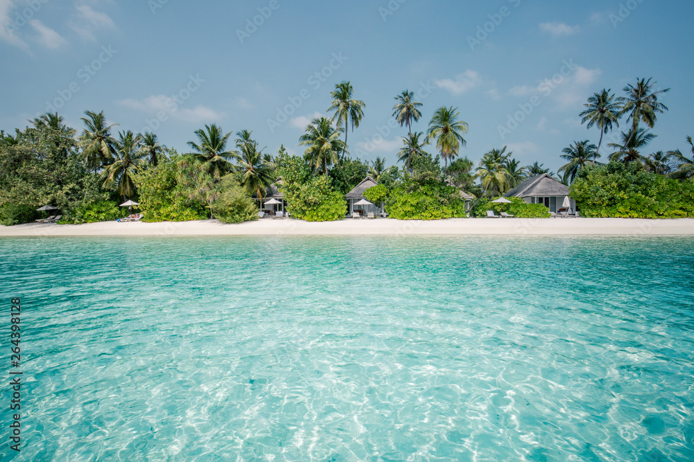 Fototapety, obrazy: Beach landscape, exotic scenery with luxury beach villas and palms on white sand, tropical resort or hotel. Wonderful vacation and holiday scenery, soft color process