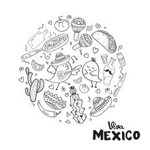 Coloring Page,Book And Antistress Freehand Sketch.Viva Mexico Hand Lettering.Vector Calligraphy With Mexican Sombrero,bottle Tequila,maraca.Used For Greeting Card, Poster Design.Vector Illustration