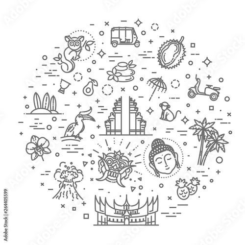 In de dag Boho Stijl Indonesia icons set. Attractions, line design. Tourism in Indonesia, isolated vector illustration. Traditional symbols