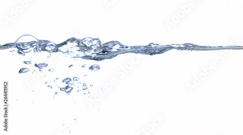 Fototapeta wasser wasserkante oberfläche welle unterwasser blase klar trinken frisch flüssig strömend reinheit  durchsichtig sauber nass blau hintergrund abstrakt kalt meer  obraz na płótnie
