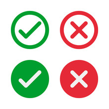 Green Check And Red Cross Symbols, Round Vector Signs