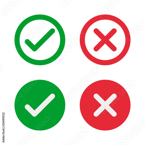 Fototapeta green check and red cross symbols, round vector signs