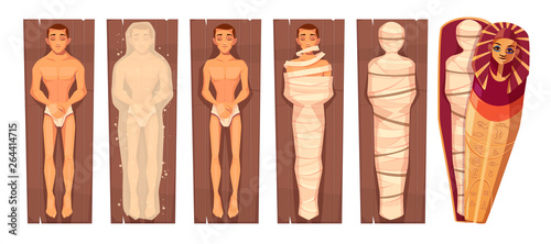 Egyptian mummy mummification process in stages cartoon vector concept with man c Wallpaper Mural