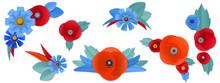 Cut Paper Poppy And Cornflower In Vignettes