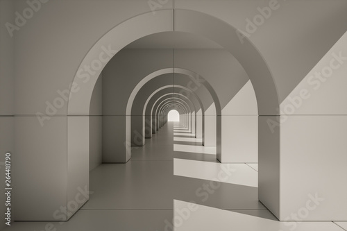 An typical archway centered with light from right Fototapete