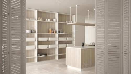 Fototapety, obrazy: White folding door opening on modern white kitchen with wooden details and parquet floor, white interior design, architect designer concept, blur background