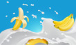 Banana and flavored milk splash or yogurt. Realistic illustration. 3d vector