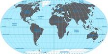 Vector Map Of The World. Ocean...