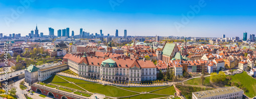 Warsaw, Poland Historic cityscape skyline roof with colorful architecture buildi Wallpaper Mural