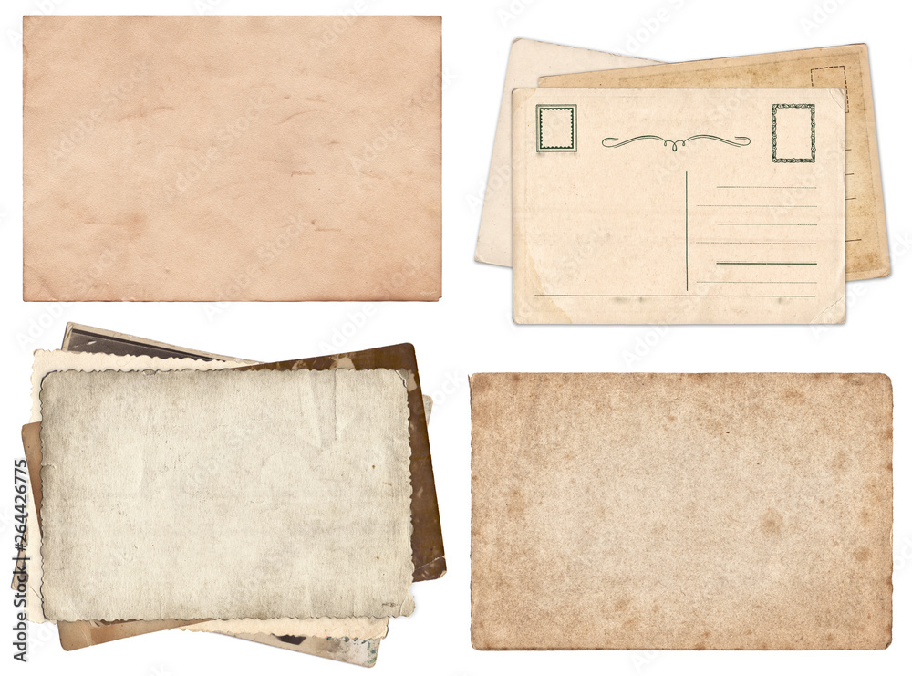 Fototapeta Set of various Old papers and postcards with scratches and stains texture isolated