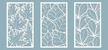 Set. Leaves, Maple, Chestnut, Birch. Templates In The Form Of Rectangle. Abstract Rectangle. Vector Illustration Of A Laser Cutting. Plotter Cutting And Screen Printing.