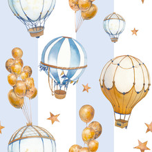 Watercolor Seamless Pattern With Air Balloon And Stars. Hand Drawn Vintage Collage Illustration With Hot Air Balloon, Flag Garlands, Pastel Stripes And Stars.
