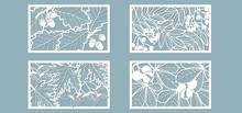 Set. Leaves, Oak, Maple, Rowan, Chestnut, Berries, Acorn, Seeds. Templates In The Form Of Rectangle. Abstract Rectangle. Vector Illustration Of A Laser Cutting. Plotter Cutting And Screen Printing.
