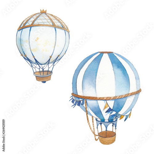 Photo  Mix media illustration set of hot air ballons