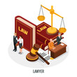 Lawyer Books Isometric Composition