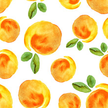Scattered Watercolour Peach Seamless Pattern