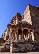 Gazebo At Mehrangarh Fort On Hill Above Jodhpur, Rajasthan, India