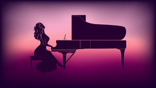 Silhouette Of A Girl Playing The Piano .The Game Of Purple Halftone Creates A Beautiful Background For Invitation To The Concert And Other Advertising Resource