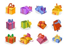 Set Of Gift Boxes In Cartoon Style. Open And Closed Vector Gift Boxes Collection. Orange, Violet, Blue,yellow, Pink, Green, Red Flat Gift Boxes Isolated On White Background.