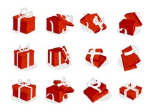 Red Gift Boxes Set With White Ribbons. Open And Closed Red Gift Box Icons Isolated On White Background. Vector Illustration