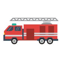 Firetruck Vehicle Isolated Flat