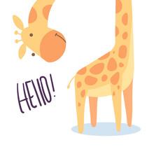 Cute Giraffe Illustration Vect...