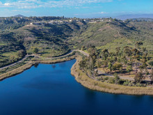 Aerial View Of Miramar Reservoir In The Scripps Miramar Ranch Community, San Diego, California. Miramar Lake, Popular Activities Recreation Site Including Boating, Fishing, Picnic & 5-mile-long Trail.