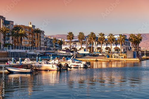 View of picturesque Roquetas de Mar harbor in southern Spain.