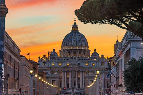 Vászonkép Orange Sunset Street Lights Saint Peter's Basilica Vatican Rome Italy