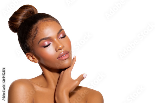 beauty porter young dark skinned girl with perfect skin and makeup Canvas Print
