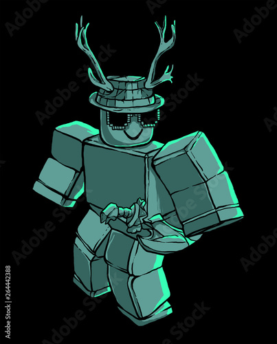 illustration of nikills from roblox / robot cyborg Wallpaper Mural