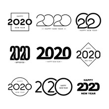 Set Of 2020 Happy New Year Sig...
