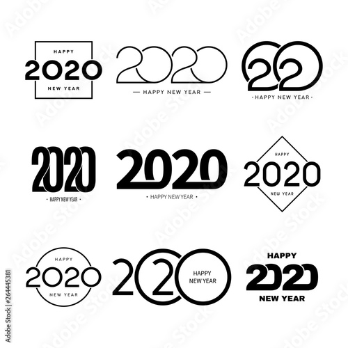 Fototapeta Set of 2020 happy new year signs. Collection of 2020 happy new year symbols. Vector illustration with black holiday labels isolated on white background. obraz