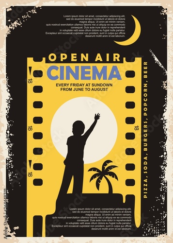 Open air cinema vintage poster vector design. Outdoor cinema retro flyer with film strip and child silhouette reaching the moon in negative space. Movie industry graphic illustration.