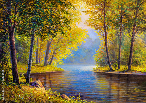 Poster Marron chocolat Oil painting landscape
