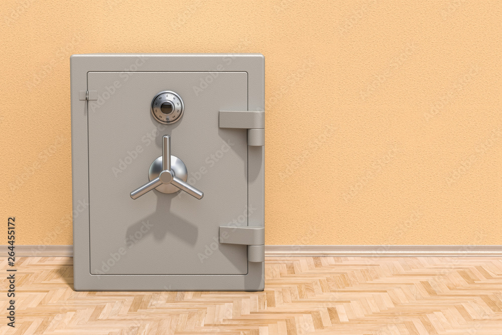 Fototapety, obrazy: Safe box with combination lock on the floor in the room, 3D rendering
