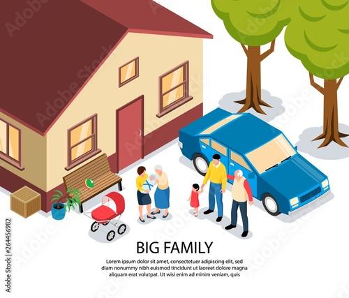 Stickers pour porte Echelle de hauteur Big Family Isometric Illustration