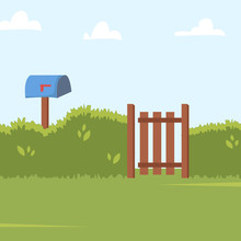 Home Backyard Background With Green Bushes Fence, Wooden Side Gate And Post Box. Vector Illustration