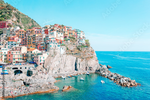Amazing view of the beautiful village of Manarola in the Cinque Terre Reserve. Liguria region of Italy.