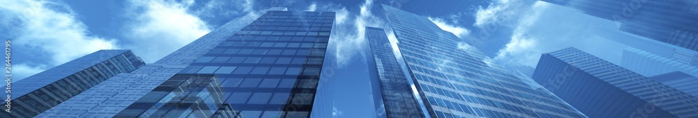 Fototapety, obrazy: Panorama of beautiful skyscrapers against the sky with clouds. 3d rendering.