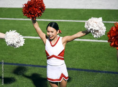 Fotografía Attractive young cheerleader performing at a high school athletic event