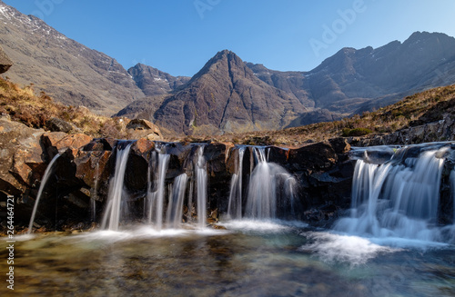 Fototapeta Fairy Pools, Isle of Skye. Cuillin Ridge in the background