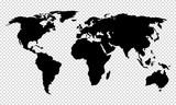 Mapa świata w odcieniach niebieskiego. Szczegółowa mapa polityczna z nazwami krajów. Ilustracji wektorowych