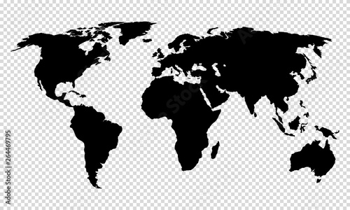 Fototapeta map of world on transparent background obraz