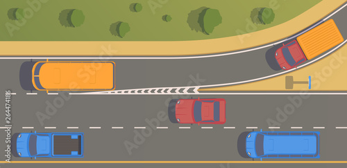 Foto Top view road junction. Right turn branches and congresses.
