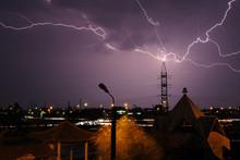 Lightning Hitting Buildin