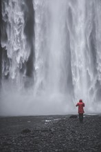 Person And Waterfall