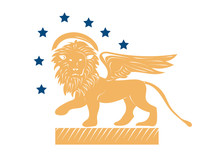 Winged Venetian Lion Of Saint Mark Or San Marco As A Symbol Of Venice Republic Vector Illustration. The Lion Of Venice Or St.Mark With Stars Isolated.